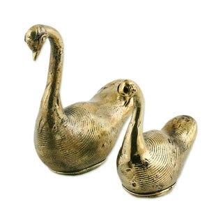 Brass Sculptures, 'Dhokra Swans' (Pair) - India