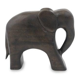 Wood Sculpture, 'Brown Thai Elephant' - Thailand