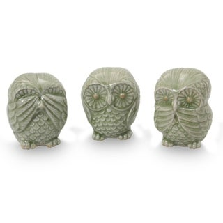 Handmade Green Owl Trio Celadon Ceramic Statuettes, Set of 3 (Thailand)