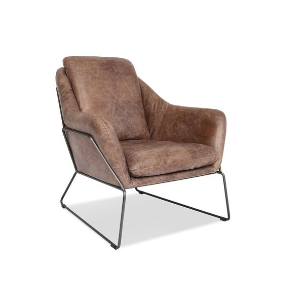 Shop Maxwell Leather Accent Chair Modern Lounge Chair In