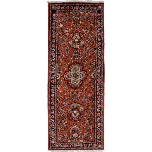 eCarpetGallery Hand-knotted Lilihan Dark Copper Wool Rug - 2'6 x 6'11