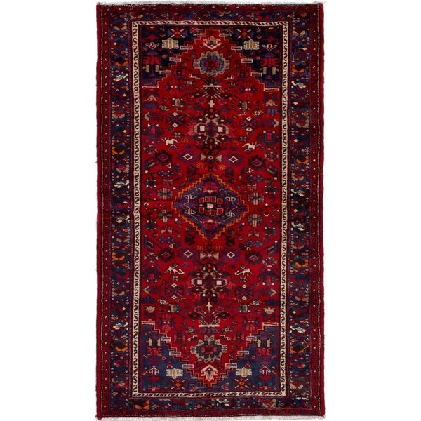 eCarpetGallery Hand-knotted Hamadan Red Wool Rug - 3'7 x 6'8