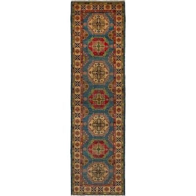 Hand-knotted Finest Gazni Blue Wool Rug