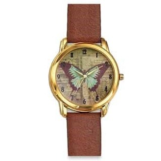 Butterfly Brown Faux Leather Band Watch