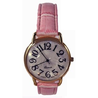 Faux Pink Leather Band Watch Easy Read Jumbo Dial
