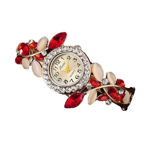 Red and Cream Jewelry Bangle Watch