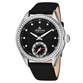 Alpina Women's AL-285BTD3CD6 'Smart Watch' Black Diamond Dial Black Satin Strap Swiss Quartz Horologial Watch