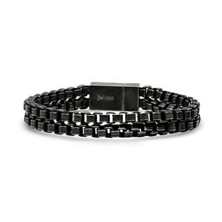 Steeltime Men's Gunmetal Stainless Steel Double Box Chain Link Bracelet