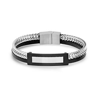 Steeltime Men's Stainless Steel Wheat Chain and Black Leather Layered ID Bracelet in 2 Colors