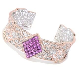 Michael Valitutti Palladium Silver Purple Garnet Cluster Cuff Bracelet