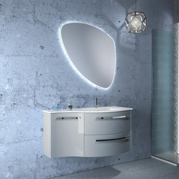 """LaToscana Ambra 43"""" Vanity with Left Concave Side Cabinet. Opens flyout."""