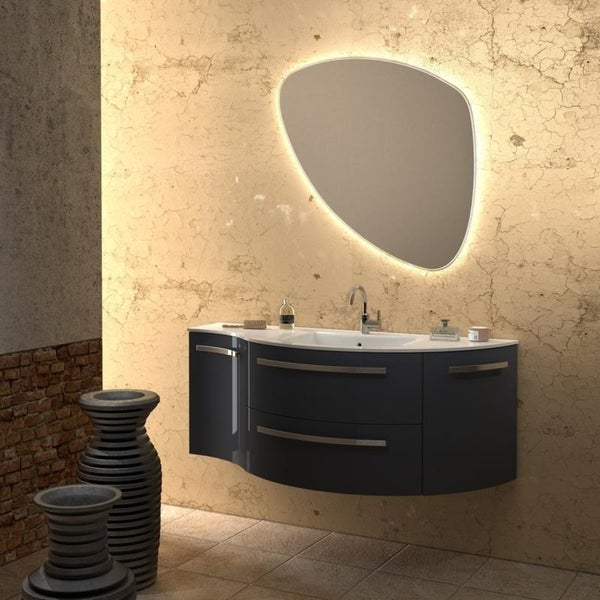 LaToscana Ambra Wood 52 Inch Wall Mounted Curved Vanity With Tekorlux Sink  Top
