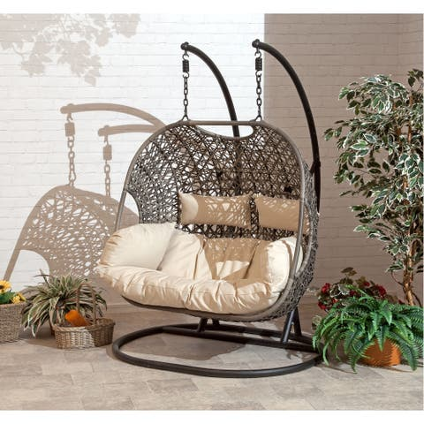 Brampton Espresso Cocoon Hanging Chair/ Swing Double with Beige Cushions