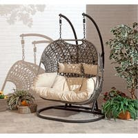 Brampton Espresso Cocoon Hanging Chair/Swing Double with Beige Cushions