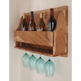 Alpine Natural Live Edge Wood Wine Rack