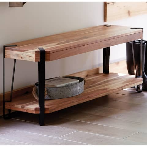 Ryegate Natural Acacia Wood/Black Metal 48-inch Long Industrial Modern Bench