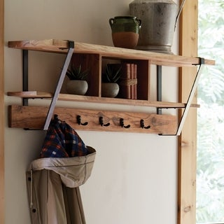 Ryegate Natural Live Edge Solid Wood Metal Coat Hooks with Storage
