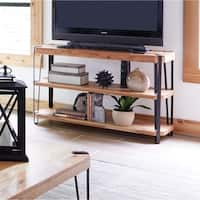 Ryegate Live Edge Black/Brown Natural Solid Wood/Metal Media Console Table