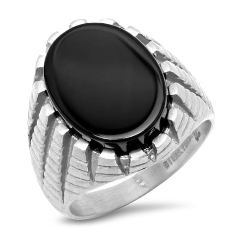 Steeltime Men's Stainless Steel Matte Ring with Black Simulated Onyx
