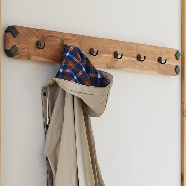 Ryegate Natural Live Edge Solid Wood with Metal Wall Coat Hook