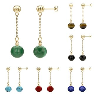 DaVonna 14k Yellow Gold Chain and 12mm Gemstone Birthstone Dangle Stud Earrings