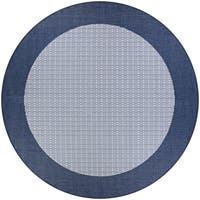 Pergola Quad/Ivory-Blue Indoor/Outdoor Round Rug - 7'6 x 7'6