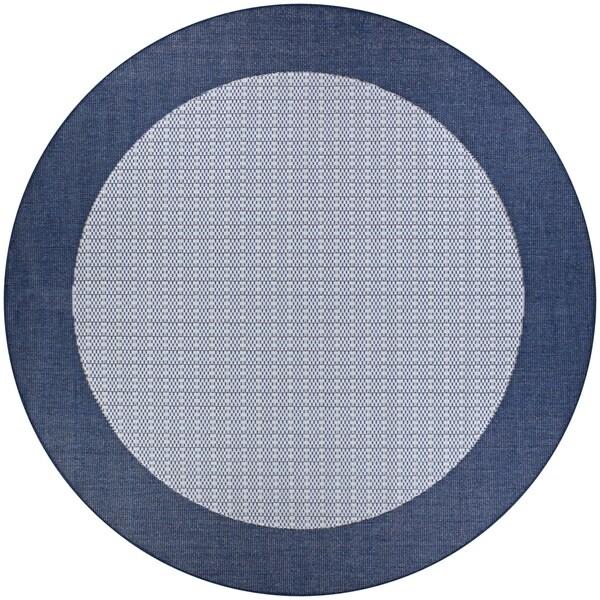 Pergola Quad/Ivory-Blue Indoor/Outdoor Round Rug - 7'6 x 7'6