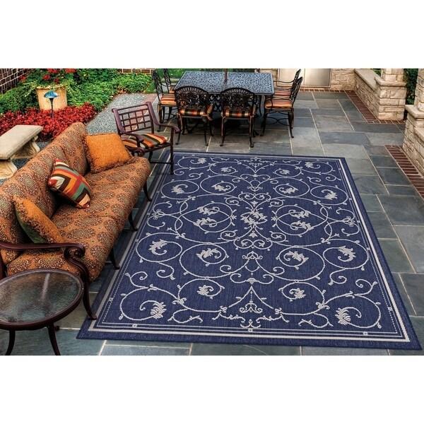 "Pergola Savannah/Ivory-Blue Indoor/Outdoor Area Rug - 5'10"" x 9'2"""