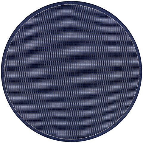 "Pergola Deco/Ivory-Blue Indoor/Outdoor Round Rug - 7'6"" Round"