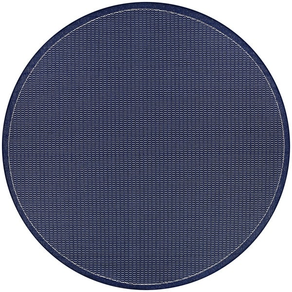Pergola Deco/Ivory-Blue Indoor/Outdoor Round Rug - 7'6 x 7'6