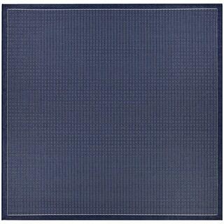 """Pergola Deco Ivory-Blue Indoor/Outdoor Square Rug - 7'6"""" Square"""