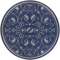 Pergola Savannah/Ivory-Blue Indoor/Outdoor Round Rug - 7'6 x 7'6