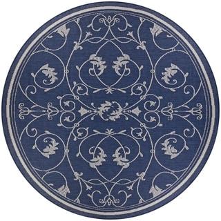 "Pergola Savannah/Ivory-Blue Indoor/Outdoor Round Rug - 7'6"" Round"