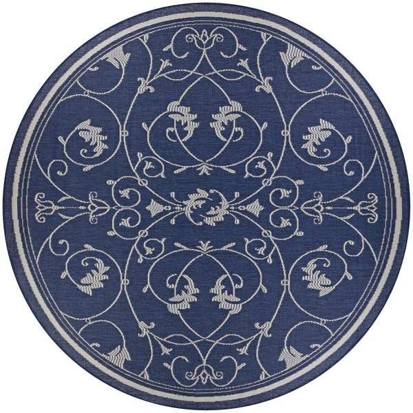 Shop Pergola Savannah Ivory Blue Indoor Outdoor Round Rug