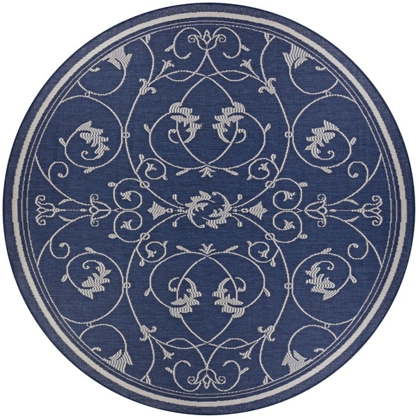 Pergola Savannah/Ivory-Blue Indoor/Outdoor Round Rug - 8'6 x 8'6