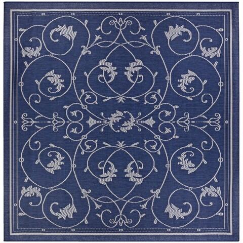 """Pergola Savannah/Ivory-Blue Indoor/Outdoor Square Rug - 8'6"""" Square"""