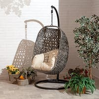 Brampton Espresso Cocoon Hanging Chair/Swing Single with Beige Cushions