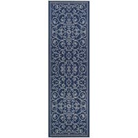 "Pergola Savannah/Ivory-Blue Indoor/Outdoor Runner Rug - 2'3"" x 11'9"""