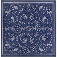 Pergola Savannah/Ivory-Blue Indoor/Outdoor Square Rug - 7'6 x 7'6