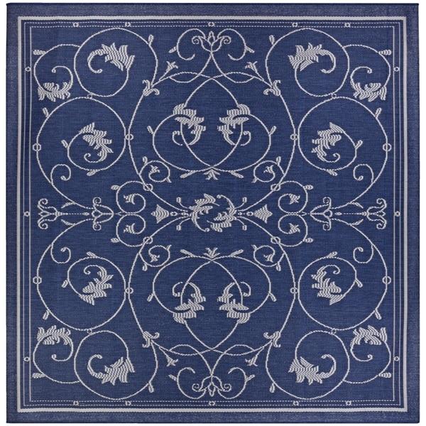 """Pergola Savannah/Ivory-Blue Indoor/Outdoor Square Rug - 7'6"""" square"""