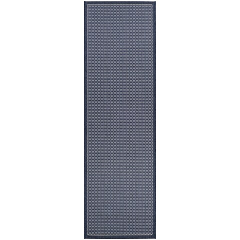 "Pergola Deco/Ivory-Blue Indoor/Outdoor Runner Rug - 2'3"" x 7'10"" Runner"