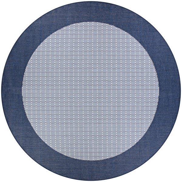 Pergola Quad/Ivory-Blue Indoor/Outdoor Round Rug - 8'6 x 8'6