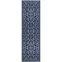 Pergola Savannah/Ivory-Blue Indoor/Outdoor Runner Rug - 2'3 x 7'10