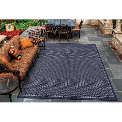 "Pergola Deco/Ivory-Blue Indoor/Outdoor Area Rug - 5'3"" x 7'6"""