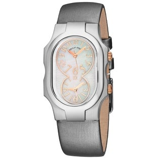 Philip Stein Women's 1-MOPRG-IPL 'Signature' Mother of Pearl Dial Platinum Satin Leather Strap Dual Time Swiss Quartz Watch