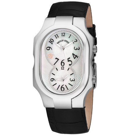 Philip Stein Women's 2-NFMOP-AB 'Signature' Mother of Pearl Dial Black Leather Strap Dual Time Swiss Quartz Watch