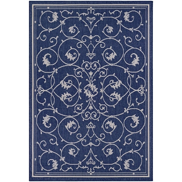 Shop Pergola Savannah Ivory Blue Indoor Outdoor Area Rug 5 3 X 7 6