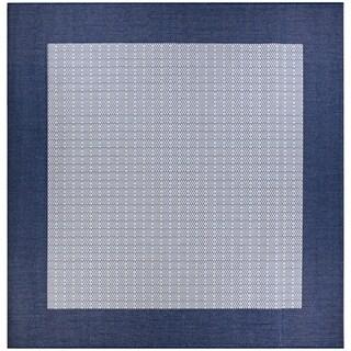 """Pergola Quad Ivory-Blue Indoor/Outdoor Square Rug - 7'6"""" Square"""