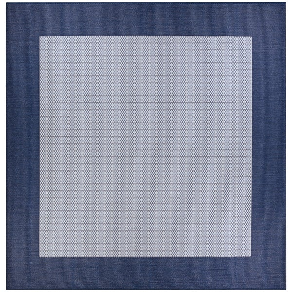 Pergola Quad/Ivory-Blue Indoor/Outdoor Square Rug - 7'6 x 7'6