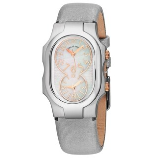 Philip Stein Women's 1-MOPRG-CMS 'Signature' Mother of Pearl Dial Silver Metallic Leather Strap Dual Time Swiss Quartz Watch